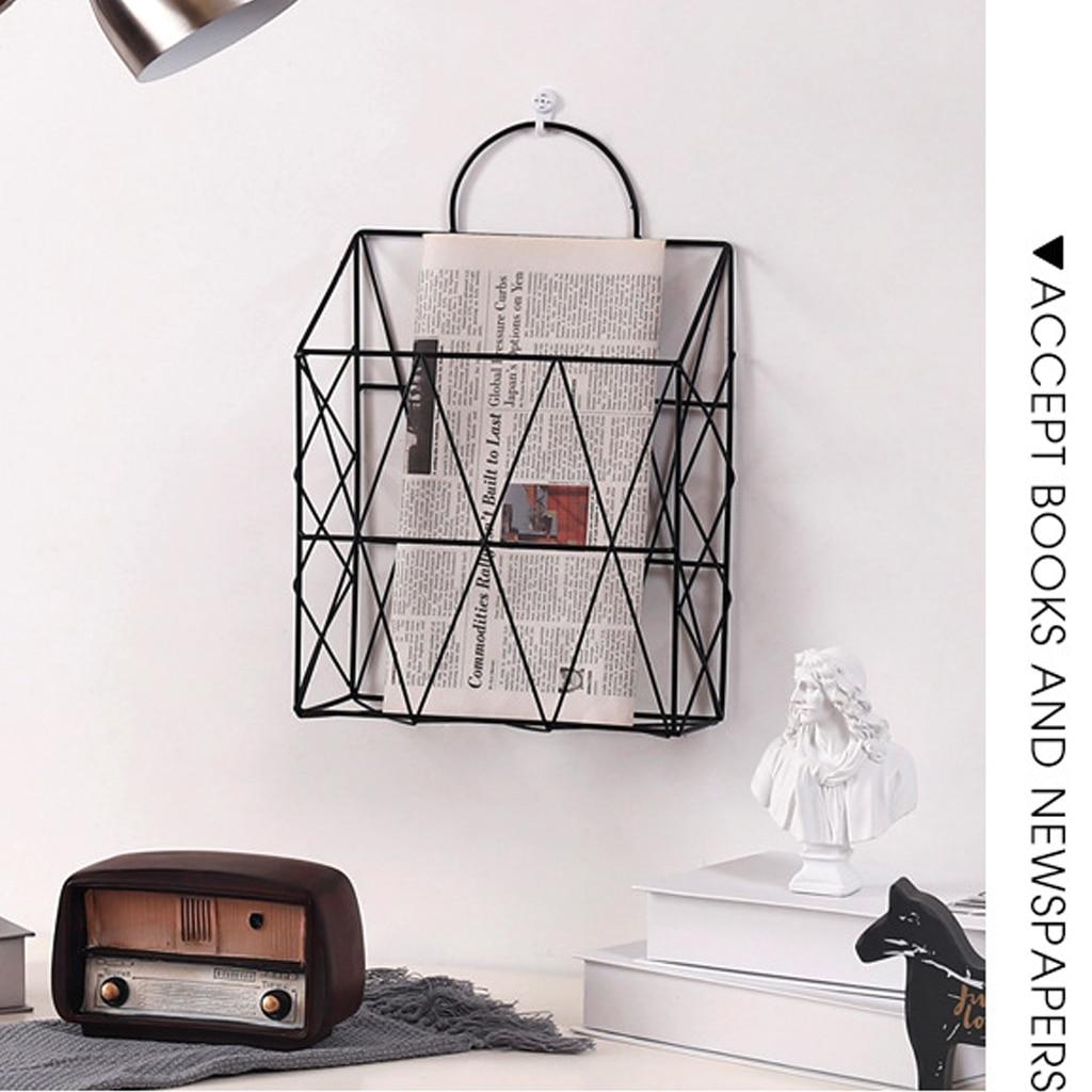 Nordic Magazine Stand Storage Basket Wall Hanging Grid Hanger Iron Desk Rack Portable Newspaper Magazine File Decorative Basket Home Office Storage Aliexpress