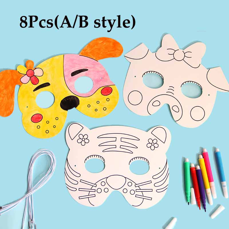 8Pcs Cartoon Animal Painting Mask DIY Color Kindergarten Graffiti Art Crafts Toys Creative Drawing Toys For Children Kids