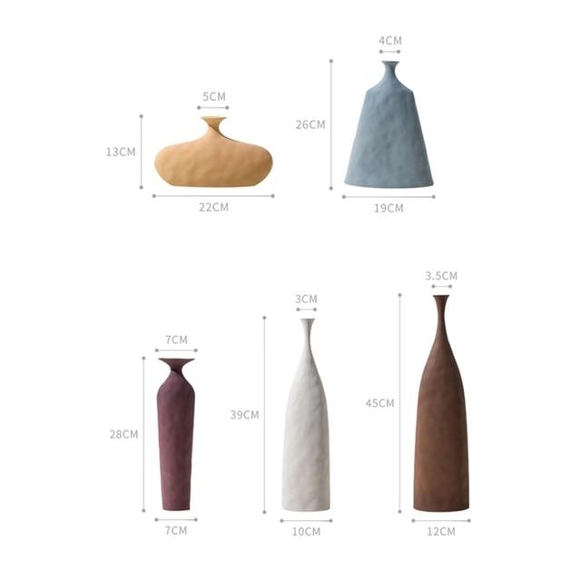 VILEAD 13cm 45cm Morandi Ceramic Plain Embryo Vase Creative Art Texture Home Decoration Hogar Flower Vases Handmade Ornaments 6