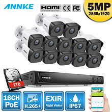 ANNKE 16CH 5MP H.265+ HD PoE Network Video Security System 12pcs 4mm Lens IP67 Outdoor POE IP Cameras Plug & Play Camera Kit