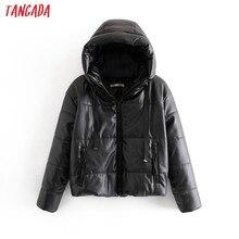 Tangada-Chaqueta Piel negra de piel sintética para mujer, abrigo de gran tamaño con cremallera, abrigo grueso con capucha de Pu para invierno, 6A170, 2020