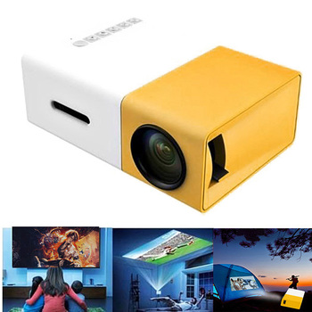 Projector Mini Projector Portable Theater Home Office HD 1080P Yellow DJA99