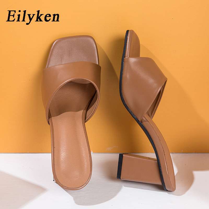 Eilyken Elegant Women Summer Dress Shoes High Quality Cozy PU Leather Clip Toe Design Slippers Fashion Square Heels Sandals