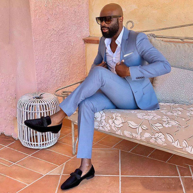 Casual Blue Suits Men 2019 Latest DesignBusiness Man Blazer  2Piece Trajes De Hombre Costume Homme Man Attire Terno Masculino