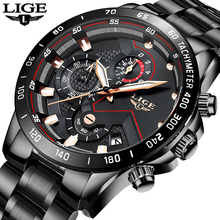 Relogio Masculino LIGE Chronograph Mens Watches Stainless Steel Waterproof Date Quartz Watch Men Business Classic Male Clock+box olevs cool function man s watches waterproof date mesh steel strap chronograph watch business male clock quartz men wristwatches
