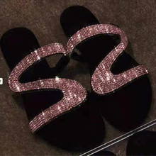 Summer Women's Slippers Zapatos De Mujer Fashion Crystal Beach Slipper Flat Shoes Women Slides Plus Size Flip Flops Open Toe