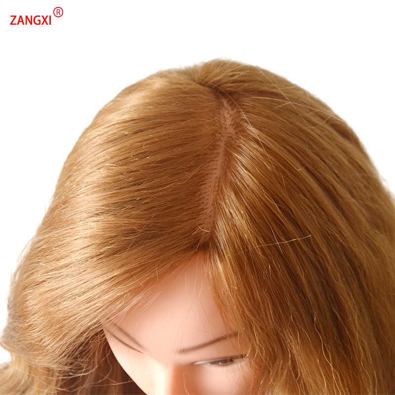 Profesjonalne 80% ludzkie włosy głowa manekina dla praktyki warkocz fryzura kosmetologii szkolenia głowy z bezpłatnym zacisk peruka głowy
