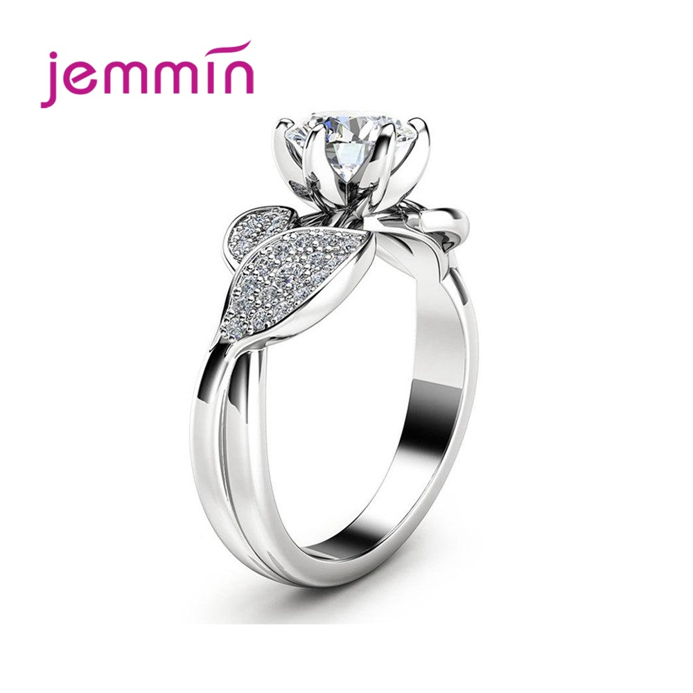 Elegant 925 Sterling Silver Plant Leaf Ring for Women Engagement Classic Style Round Cubic Zirconia 6 Claws Fashion Jewerly