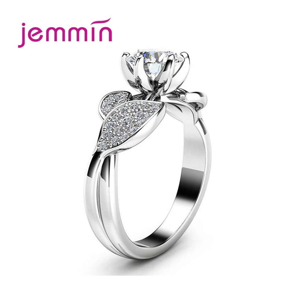 Elegante anillo de hoja de planta de Plata de Ley 925 para mujer estilo clásico de compromiso circonita cúbica redonda 6 garras joyería de moda