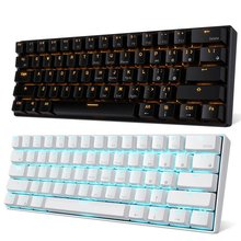 Bluetooth-Keyboard RK61 Backlit Portable Wired Mechanical Gaming 61-Key Dual-Mode Golden/ice-Blue