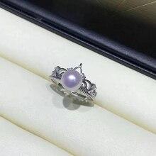 Crown 925 Sterling Zilver Vinger Ring Instellingen Verstelbare Ring Bevindingen Onderdelen Fittings Accessoires voor Parels Stenen Kralen