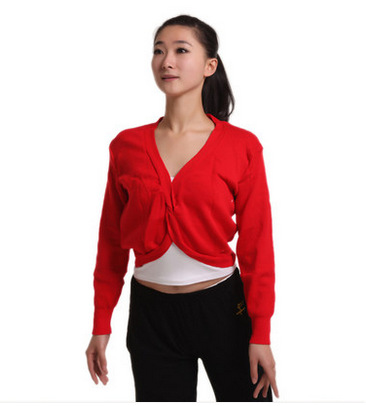 Adult Rosette Sweater Children Gymnastic Sweater Long Sleeve Knot Sweater Gymnastic Dance Costume