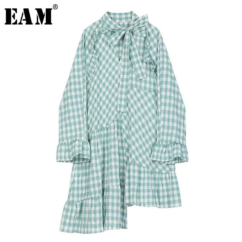 [EAM] Women Green Plaid Ruffles Asymmetrical Shirt Dress New Lapel Long Sleeve Loose Fit Fashion Tide Spring Autumn 2020 1S366
