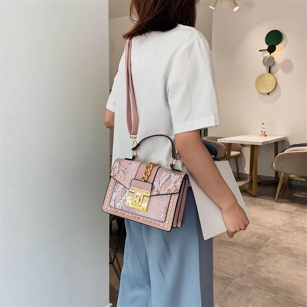 Women Shoulder Bags Messenger Handbag Print PU Leather Cross-body Satchel Purse