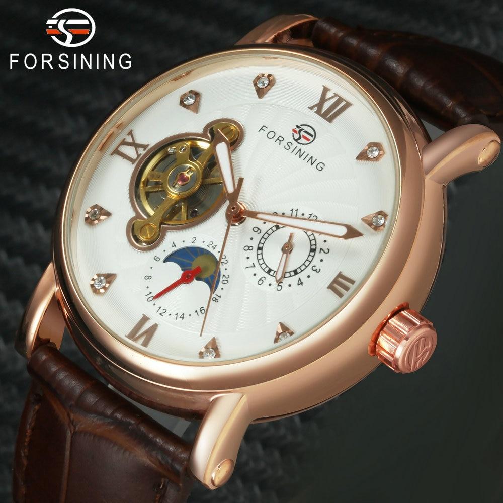 FORSINING Rose Golden Tourbillon Mechanical Mens Watches Top Brand Luxury Sun Moon Display Crystal Skeleton Dial Watch Men