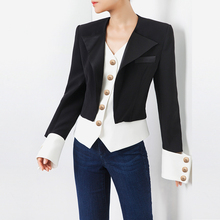 Fake Two Pieces Woman Blazers Long Sleeve Black and White Color Patchwork Single Breasted Button Slim Waist Autumn Coats