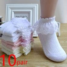 10 pares/lote algodão respirável rendas plissado princesa malha meias crianças tornozelo meia curta branco rosa azul bebê meninas crianças criança