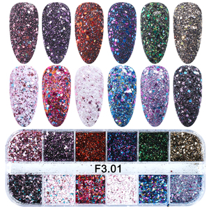 Image 4 - 1Set Colorful Nail Glitter Sequin Dust Round Shiny Nail Flakes Mixed Size UV Gel Manicure Tips Paillette Nail Art Decor LAD 1