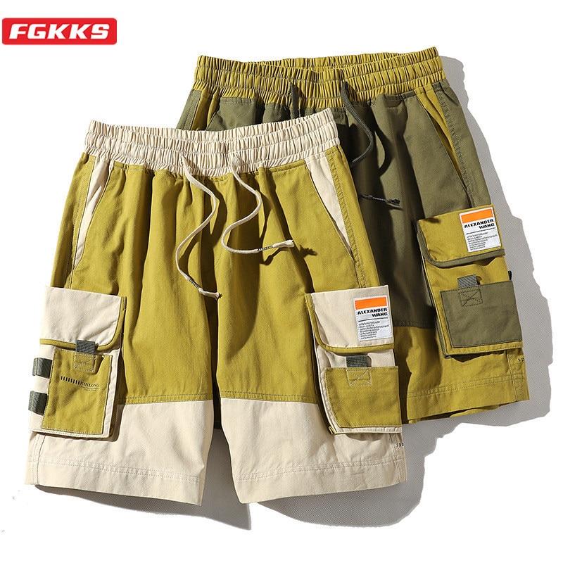 FGKKS Brand Men Cargo Shorts Men's High Street Fashion Wild Shorts Summer New Patchwork Casual Straight Shorts Male