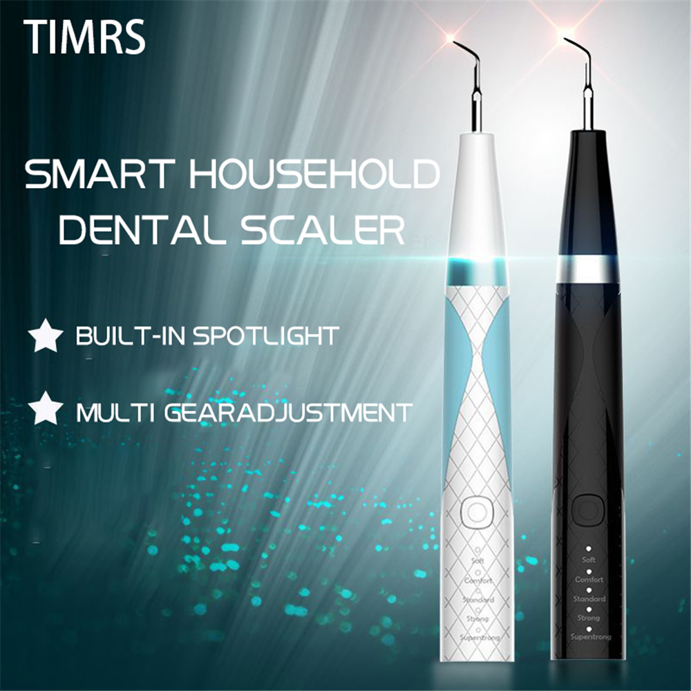 Portable Ultrasound Dental Scaler Tooth Calculus Remover Tooth Stains Tartar Cleaner Tool Whiten Built-in Spotlight Usb Recharge