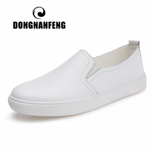 Image 1 - DONGNANFENG Womens Ladies Female Woman Cow Genuine Leather White Vulcanized Shoes Flats Loafers Korean Slip On Leisure LLX 6688