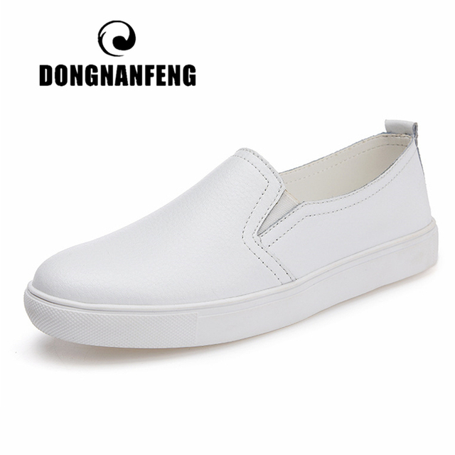 DONGNANFENG Womens Ladies Female Woman Cow Genuine Leather White Vulcanized Shoes Flats Loafers Korean Slip On Leisure LLX 6688