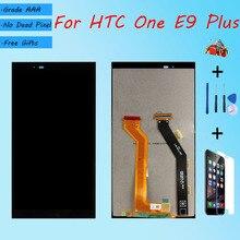 Para htc um e9 plus a55 assembléia tela lcd com caso frontal de vidro toque, e9 mais e9pw display lcd original preto branco