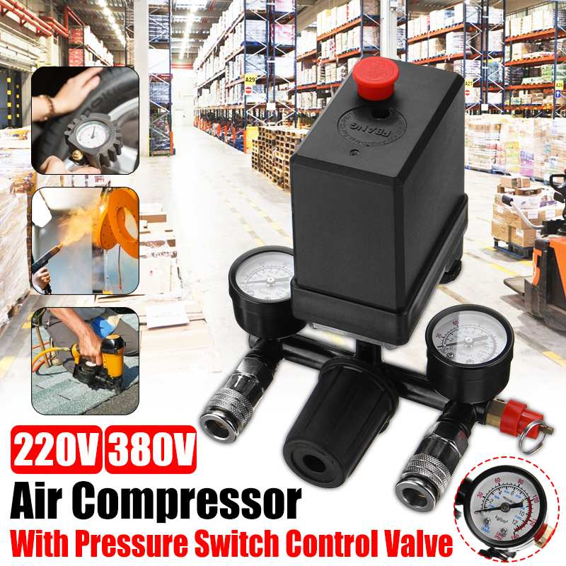 240V/380V AC Regulator Heavy Duty Air Compressor Pump Pressure Control Switch Air Pump Control Valve 7.25-125 PSI With Gauge