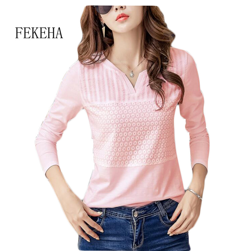 FEKEHA White T-shirt Women Spring Autumn Cotton Female Long Sleeve T Shirts V-Neck Ladies Tops Casual Tees Plus Size 3XL 1