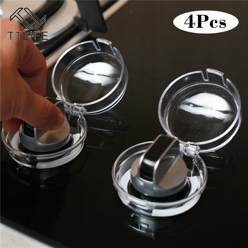 4pcs Gas Stove Oven Knob Cover Padlock Lid Lock Protector Baby Kitchen Safety Children Protection Switch Cover