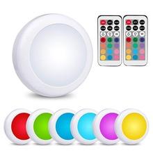 Регулируемая беспроводная RGB светодиодная подсветка под шкаф сенсорный и пульт дистанционного управления на батарейках светодиодный светильник шайба для гардероба кухни лестницы