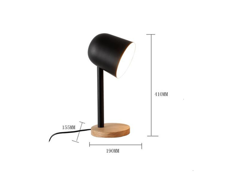 Mini Eenvoudige Ijzer Hout Tafellamp Oog Beschermen Bureaulamp Lampara De Mesa - 3