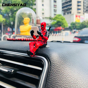 Car Ornaments Personality Deadpool Car Ornament Action Figure Sitting Model Anime Mini Doll Car Decoration Car Accessories