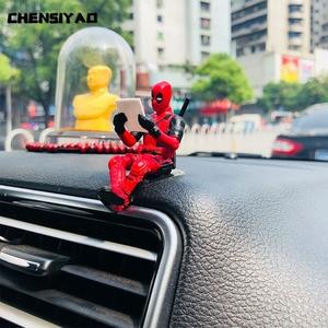 Car Ornaments Personality Deadpool Car Ornament Action Figure Sitting Model Anime Mini Doll Car Decoration Car Accessories