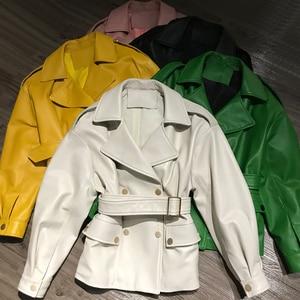 Image 2 - Women Real Lambskin Jacket Skirt Style with Belt Real Leather Fashionable Sweet Women Streetwear Pure Leather Jacket