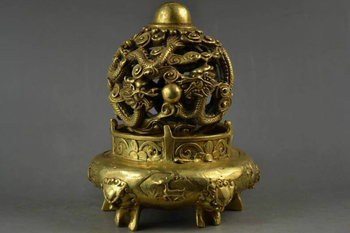 Free shipping Collectable Old BRASS Carving Double Dragon & 5 Lion Head Rare Big Religion Incense Burner