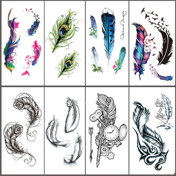 Sexy Body Art Beauty Makeup Crow Feather Waterproof Temporary Tattoo Stickers image