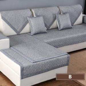 Sofa-Cover Fabric Corner Living-Room Solid-Color Cotton Linen
