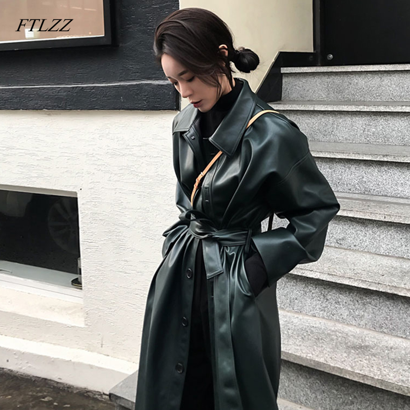 FTLZZ Faux Leather Long Jacket New Spring Women Loose Belt PU Leather Windbreaker Trench Coat Slim Autumn Jacket