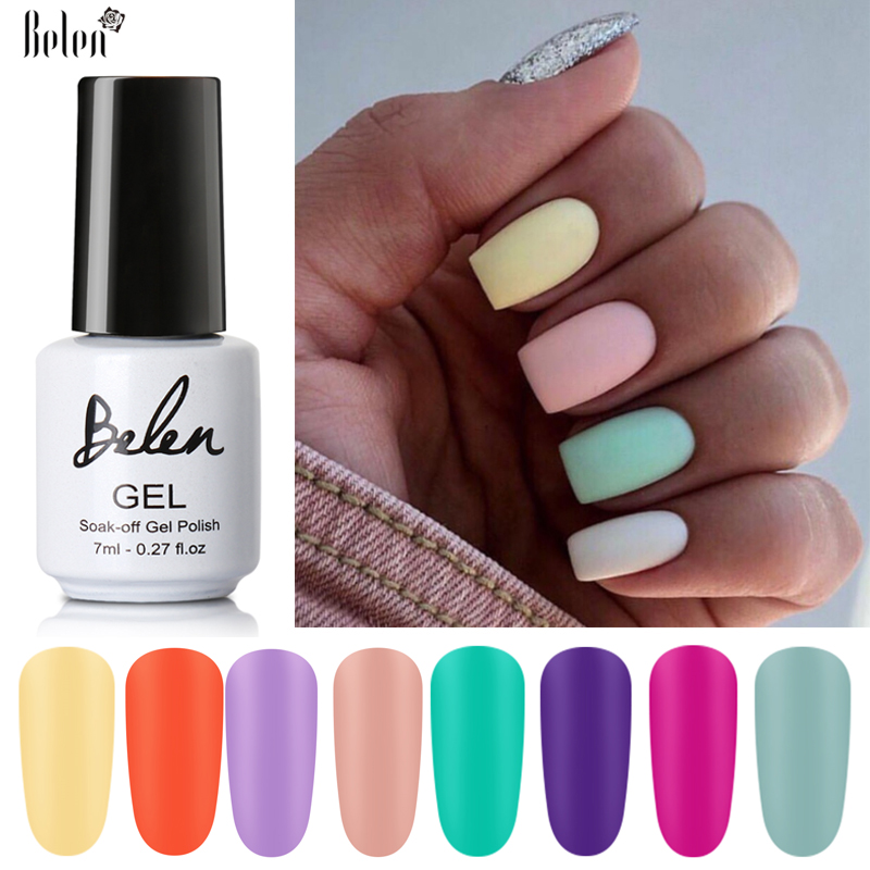 Belen 7ml Color Gel Polish Matte Nail Gel One-shot Color Nail Art Gel Soak Off UV Gel Varnish Design Nail Beauty Varnish