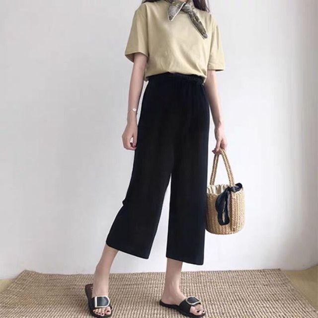 Cusual Pants Women Spring Summer Ankle-length Loose Wide Leg Elastic High Waist Oversize Black Simple Comfortable Elegant Ladies 6