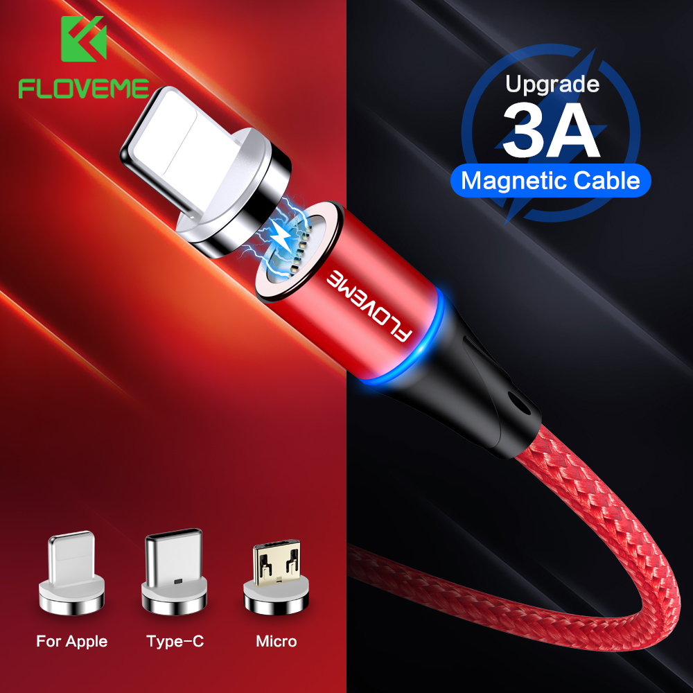 FLOVEME Magnetic Charger Micro Usb Cable For iphone Usb Type C Fast Charging Adapter