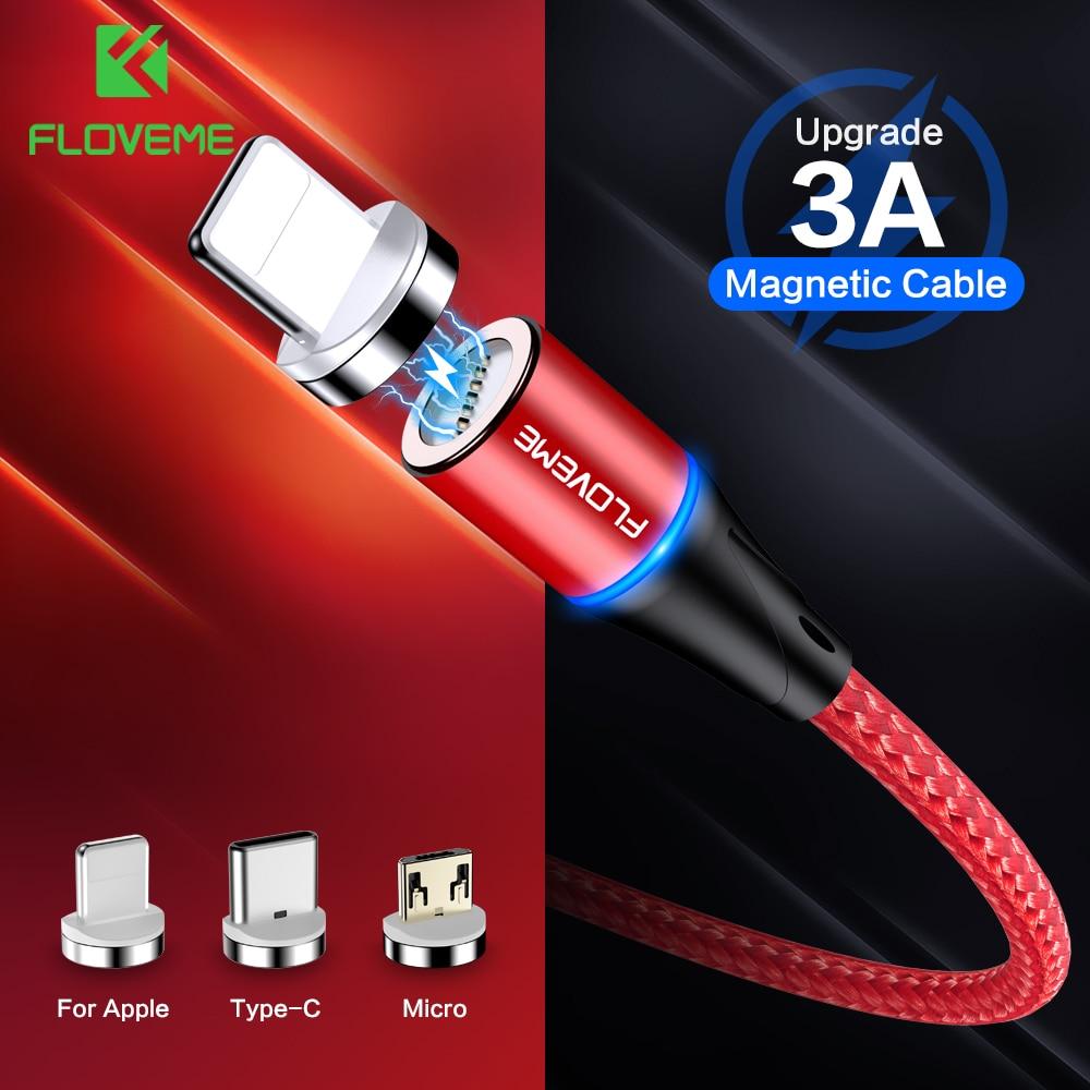 Floveme carregador magnético micro cabo usb para iphone usb tipo c adaptador de carregamento rápido ímã fio do carregador para samsung xiaomi cabo