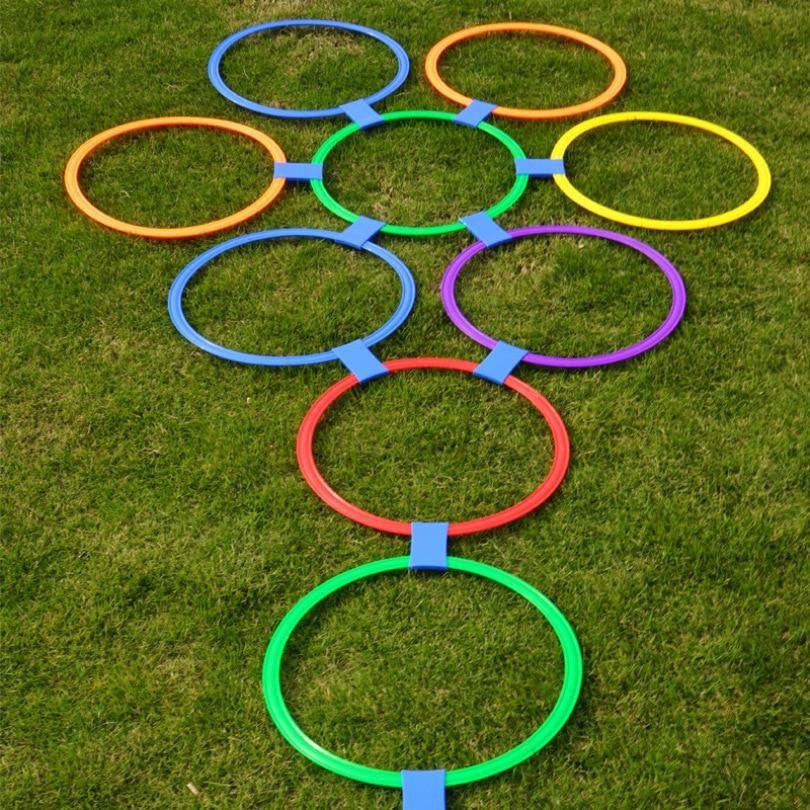Kindergarten Teaching Aid Sport Toy Hopscotch Jump To The Grid Children Sensory Training Equipment Outdoor Fun Game Jumping Ring