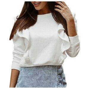 Women Autumn Winter Long Sleeve Ruffled Sweatshirts Casual Solid Color Pullovers Tops Ladies Sweatshirts Sudadera Mujer @40