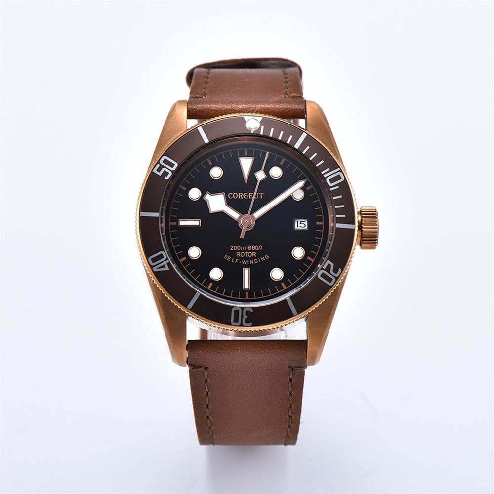 Corgeut Роскошные Брендовые мужские автоматические механические часы с сапфировым стеклом Miyota, военные спортивные часы для плавания, кожаные ... - 4