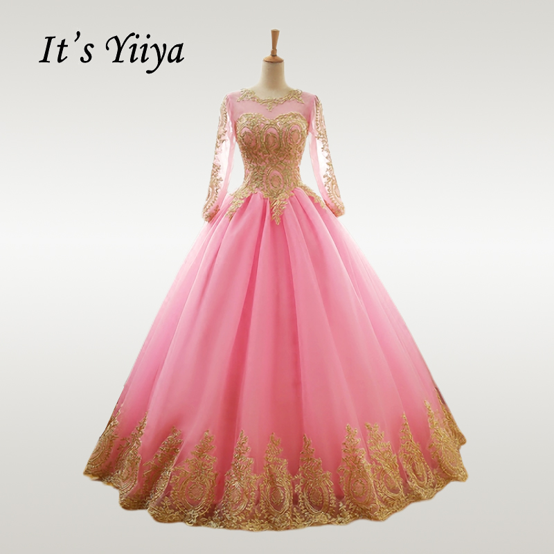 It's YiiYa Wedding Dress Gold Lace O-neck Pink Wedding Dresses Plus Size Long Sleeve Muslim Vestido De Novia Free Shipping CH238