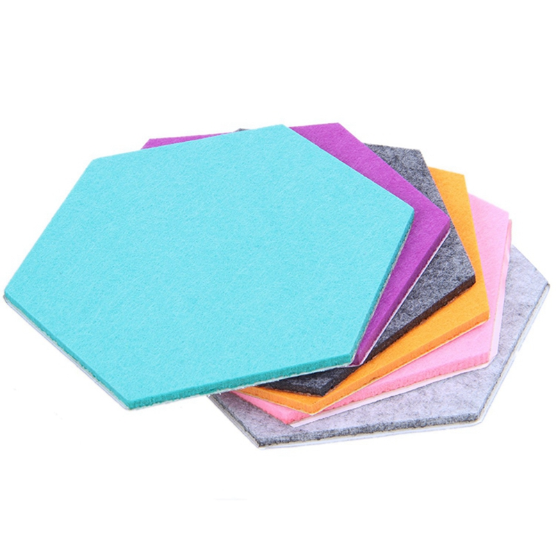 6pcs Hexagon Felt Pin Board Self Adhesive Bulletin Memo Photo Cork Boards Colorful Foam Wall Decorative Tiles With 6 Pushpin