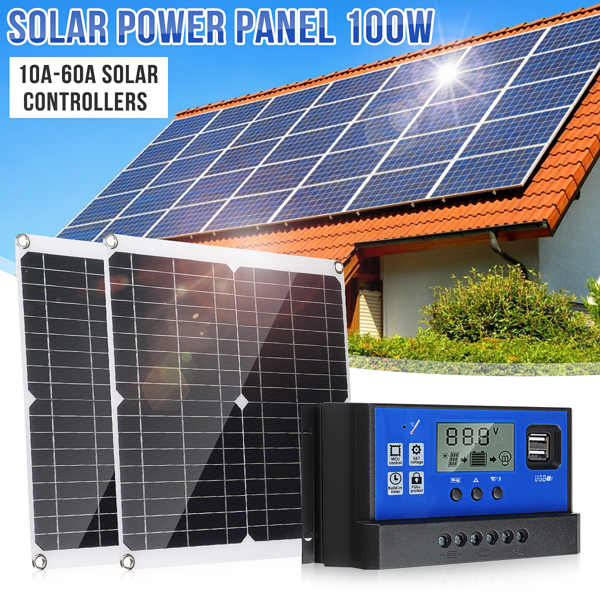 <font><b>12V</b></font> <font><b>100W</b></font> <font><b>Solar</b></font> <font><b>Panel</b></font> Battery Charger for Street Light Outdoor Light Surveillance Camera Car RV Boat 10A 20A 30A 60A Control image