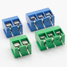 цена на 100PCS/Lot KF301-2P KF301-3P KF301-5.0-3P KF301 Screw 3Pin 5.0mm Straight Pin PCB Screw Terminal Block Connector Blue and green